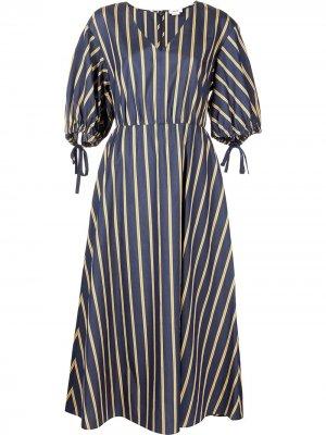 Полосатое платье с V-образным вырезом Jason Wu. Цвет: синий