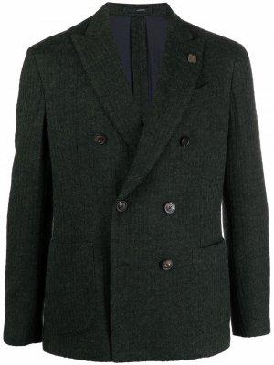 Фактурный двубортный пиджак Lardini. Цвет: зеленый