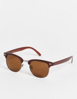 Круглые солнцезащитные очки коричневого цвета в стиле ретро унисекс -Коричневый цвет AJ Morgan