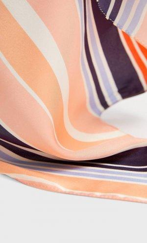 Бандана В Диагональную Полоску Женская Коллекция Оранжево-Персиковый 103 Stradivarius. Цвет: оранжево-персиковый