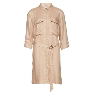 Платье с короткими рукавами и рубашечным воротником B.YOUNG. Цвет: бежевый