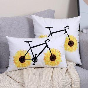 Чехол для подушки без наполнителя с узором велосипеда SHEIN. Цвет: многоцветный