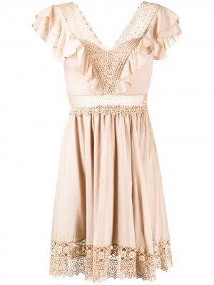 Платье Larisa с вышивкой Charo Ruiz Ibiza. Цвет: нейтральные цвета
