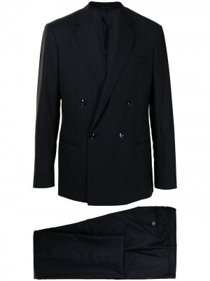 Полосатый костюм с двубортным пиджаком Giorgio Armani. Цвет: синий