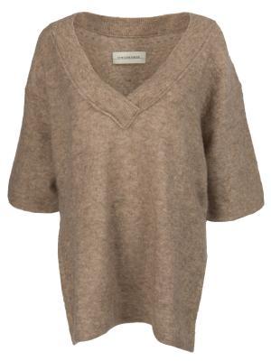 Однотонный пуловер BY MALENE BIRGER. Цвет: коричневый