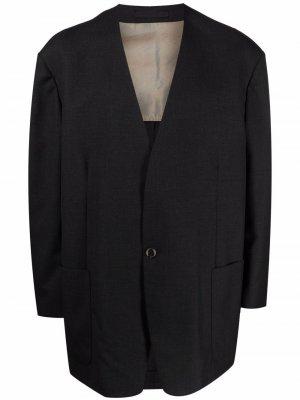 Однобортный пиджак с V-образным вырезом Fear Of God. Цвет: черный
