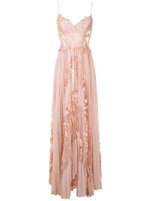 Длинное платье Niki с плиссировкой Martha Medeiros. Цвет: розовый
