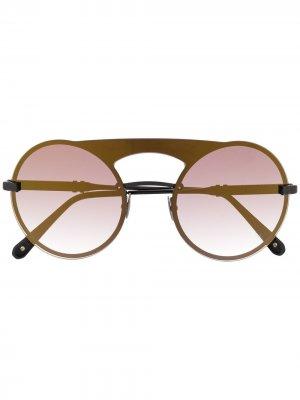 Солнцезащитные очки в круглой оправе Philipp Plein. Цвет: коричневый