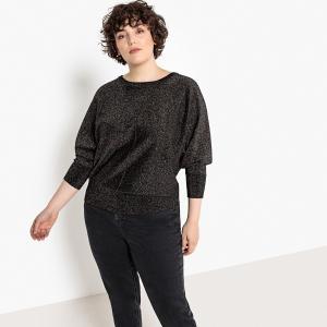 Пуловер с круглым вырезом из блестящего тонкого трикотажа CASTALUNA. Цвет: разноцветный