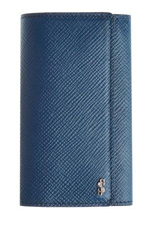 Ключница из текстурированной кожи с литым логотипом бренда SERAPIAN. Цвет: синий
