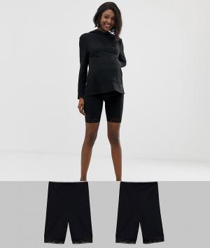Набор из 2 черных корректирующих шорт для беременных с кружевной отделкой Mamalicious-Черный Mama.licious