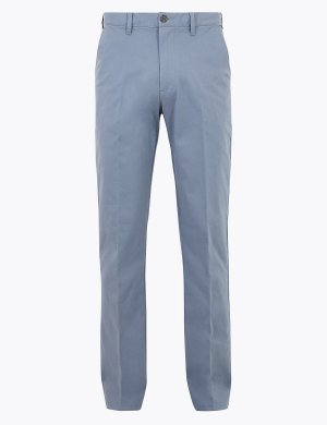 Хлопчатобумажные брюки чинос M&S Collection. Цвет: свежий голубой