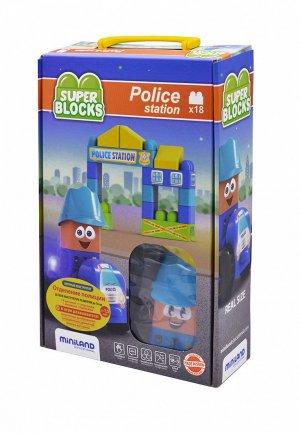 Конструктор Miniland Super Blocks Police Station (18 деталей) в чемоданчике. Цвет: разноцветный