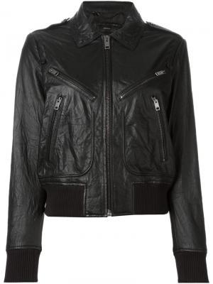 Кожаная куртка с карманами на молнии Diesel. Цвет: чёрный