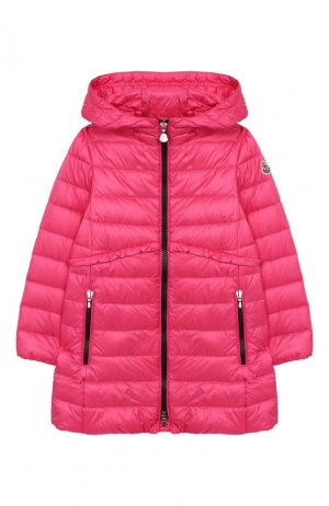 Стеганое пальто с капюшоном Moncler Enfant. Цвет: розовый