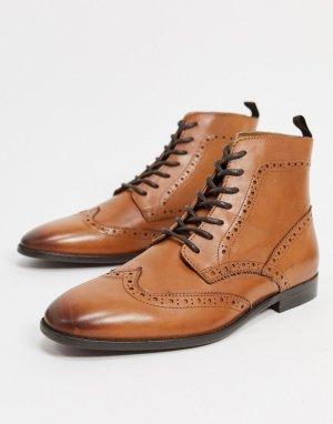 Светло-коричневые кожаные ботинки-броги -Светло-коричневый ASOS DESIGN