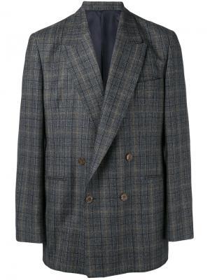 Двубортный пиджак в клетку E. Tautz. Цвет: серый