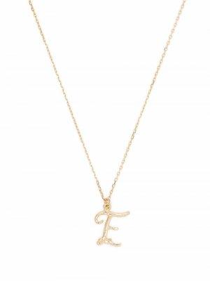 Колье Enchanted Twig Alphabet E из желтого золота Alex Monroe. Цвет: золотистый
