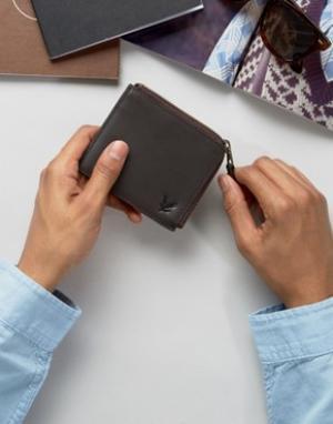 Кожаный бумажник с молнией Lyle & Scott. Цвет: коричневый