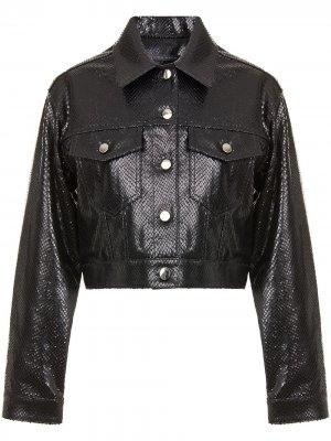Куртка Claudine с тиснением под кожу питона Giuseppe Zanotti. Цвет: черный