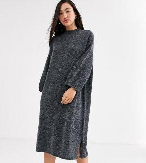 Темно-серое трикотажное платье миди -Серый Monki