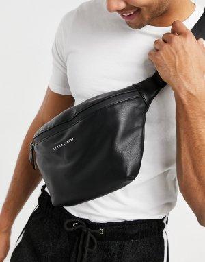 Черная сумка-кошелек на пояс Smith & Canova-Черный цвет And Canova