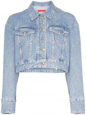 Укороченная джинсовая куртка Eckhaus Latta. Цвет: черный