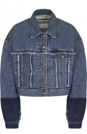 Укороченная джинсовая куртка с потертостями Acne Studios. Цвет: синий