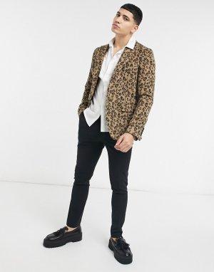 Облегающий блейзер из искусственного меха с леопардовым принтом -Коричневый цвет Devils Advocate