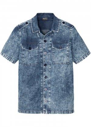Джинсовая рубашка bonprix. Цвет: синий