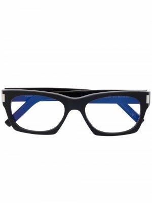 Очки в квадратной оправе Saint Laurent Eyewear. Цвет: черный