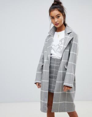 Пальто в клетку Wednesdays Girl Wednesday's. Цвет: серый