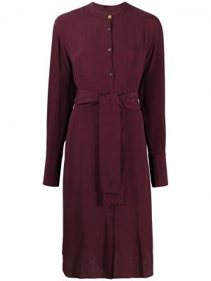 Платье-рубашка миди с поясом PS Paul Smith. Цвет: красный