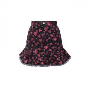 Джинсовая юбка REDVALENTINO. Цвет: чёрный