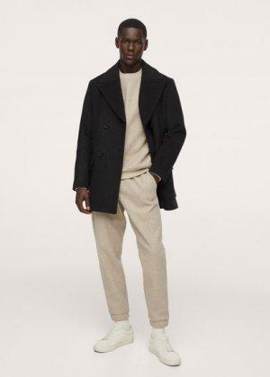 Двубортное пальто из шерсти - Butan-i Mango. Цвет: серый