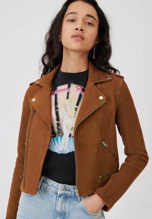 Куртка кожаная Maje. Цвет: коричневый