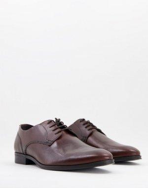 Коричневые кожаные туфли дерби -Коричневый цвет ASOS DESIGN