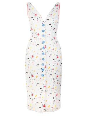 Платье-миди с пуговицами CAROLINA HERRERA. Цвет: белый