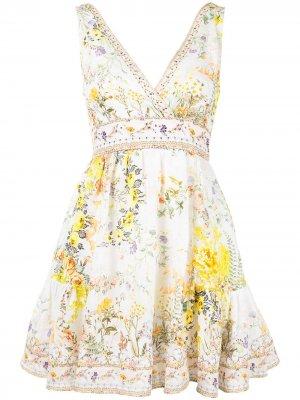Платье мини с цветочным принтом Camilla. Цвет: белый