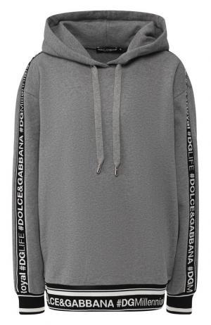 Хлопковый пуловер с капюшоном Dolce & Gabbana. Цвет: серый