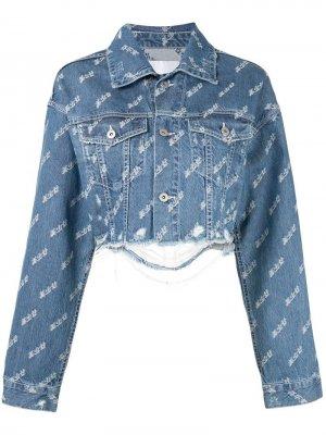 Укороченная джинсовая куртка с эффектом потертости Ground Zero. Цвет: синий