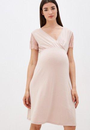 Платье домашнее Hunny mammy. Цвет: бежевый