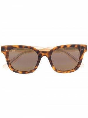 Солнцезащитные очки трапециевидной формы Maui Jim. Цвет: коричневый