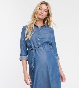 Джинсовое платье-рубашка для кормления Mamalicious-Синий Mama.licious