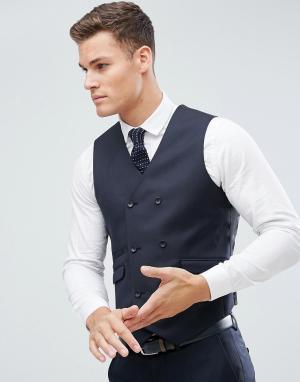 Темно-синий облегающий жилет из 100% шерсти wedding ASOS DESIGN