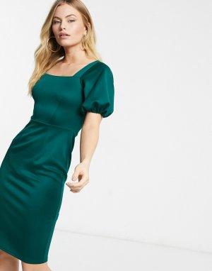 Изумрудно-зеленое платье-футляр с квадратным вырезом и объемными рукавами -Зеленый Closet London