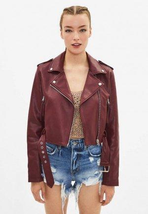 Куртка кожаная Bershka. Цвет: бордовый