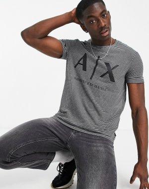 Черная футболка в полоску с логотипом -Черный цвет Armani Exchange