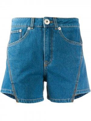 Джинсовые шорты асимметричного кроя LANVIN. Цвет: синий