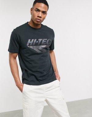 Черная футболка с переливающимся принтом -Черный цвет Hi-Tec